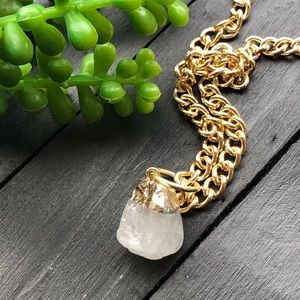 Quartz Crystal Nugget on Gold Chain
